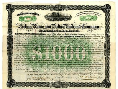 AL. GA. Selma, Rome and Dalton Railroad Co. I/U 1867 $1000 7% Coupon Bond VF