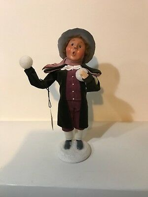 """Byers Choice Carolers,2006 10"""" Boy Throwing Snowballs,  Signed"""
