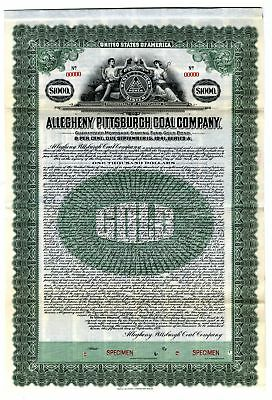 PA. Allegheny Pittsburgh Coal Co 1921  $1000 Specimen 6% Gold Coupon Bond VF ABN
