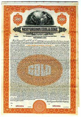 WV. West Virginia Coal & Coke Co. $500 Specimen 6% Gold Coupon Bond ABN VF