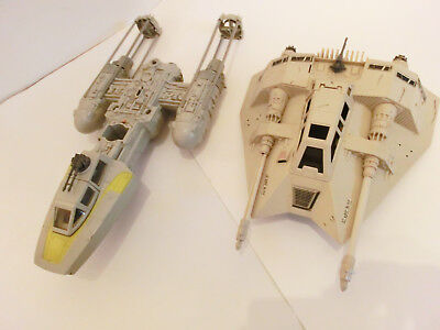 Star Wars Vintage Snowspeeder + Y-Wing Fighter Kenner Action Figuren