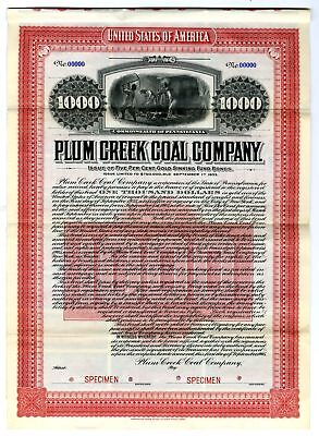 PA. Plum Creek Coal Co 1905  $1000 Specimen 5% Gold Coupon Bond VF ABN