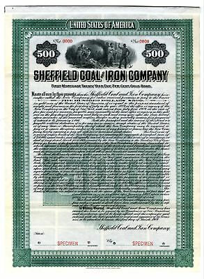 NY. Sheffield Coal & Iron Co  $500 Specimen 5% Gold Coupon Bond VF ABN