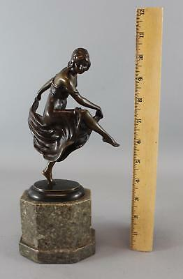 Antique Signed RUDOLPH KAESBACH German Art Deco Dancing Woman Bronze Sculpture