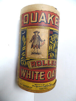 Vintage Graphic Quaker Rolled White Oats Container Chicago Illinois Ill Il