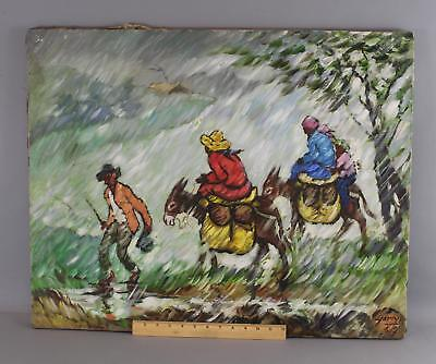 Vintage YORYI MOREL Dominican Republic Modernist Oil Painting Figures & Donkeys