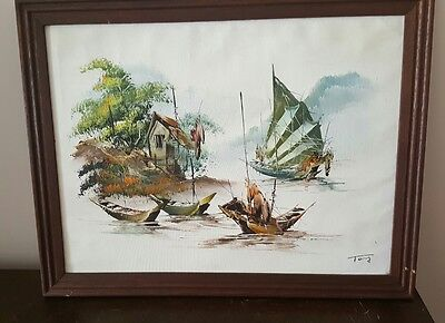 Vintage Japanese  Painting..  Tong