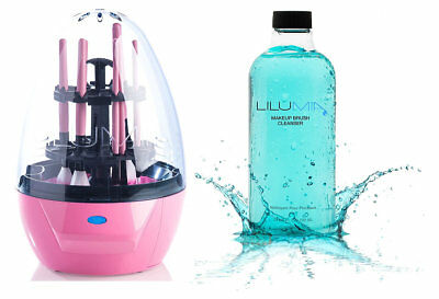 Lilumia 2 Cosmetic Makeup Brush Cleaner Device Pink + Makeup Brush Cleanser 24oz