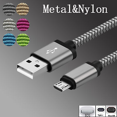 3~10ft Aluminum Metal Nylon Braided Type C IOS Micro USB Data Snyc Charger Cable