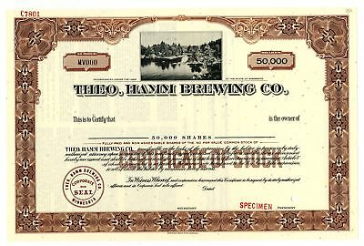MN. Theo.Hamm Brewing Co., 1940-50's Specimen 50,000 Shares Stock Certificate VF