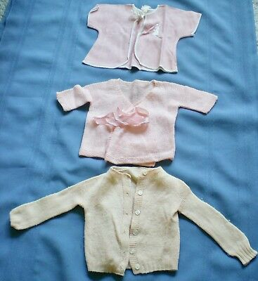 Vintage Knit Baby Infant Sweaters Lot Of Three Pink One With Bunny Rabbit