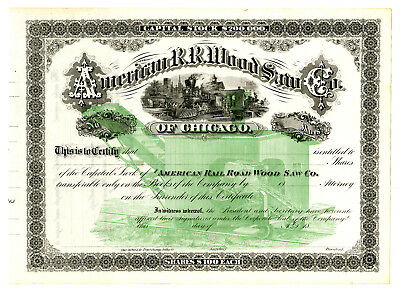 American R.R. Wood Saw Co., ca.1880-1900 Specimen Stock Certificate