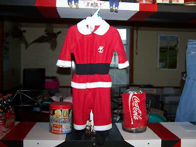 Adorable Terry Christmas Santa Sleeper Red 6- 9 Months Excellent Condition
