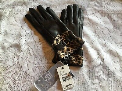 Altare Women's black genuine Leather Gloves With leopard look fur  size EX-Large