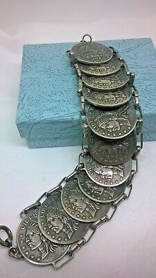 Vintage Jewellery Native American Coin Bracelet Liberty United States Ten Dollar