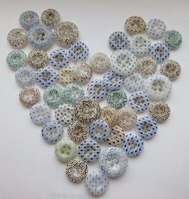 Fabulous Lot of 50 Antique~ Vtg 19th C China Calico BUTTONS Many Matching Sets