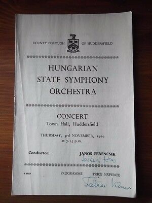 Hungarian Symphony Orchestra 1960 SIGNED Conductor JANOS FERENCSIK Huddersfield
