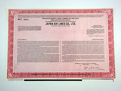 Japan Air Lines Co., Ltd., ca.1980-1990 Specimen Stock Certificate