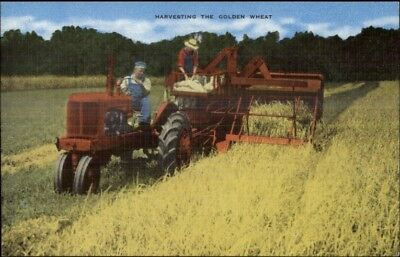 Old Tractor Farming WheatVibrant Colorful Linen Postcard - Agriculture