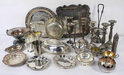 Vintage Silver Plated Mixed Use Creamer Bowls Platters Candle Sticks Lot