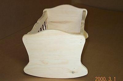 Victorian Spindle Doll Cradle Unfinished Pine Wood Baby Doll Crib Hand Made Girl