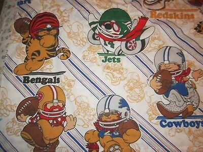 "Huddles NFL football  fabric panel 23"" x 66"" wide Cowboys Eagles Lions 1980's"