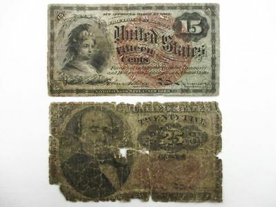 2 U.S. Fractional Currency Notes 15 & 25 Cent Denomination Bank