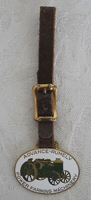 Vintage Advance Rumely Oil Pull Tractor Farm Enameled Green & White Watch Fob