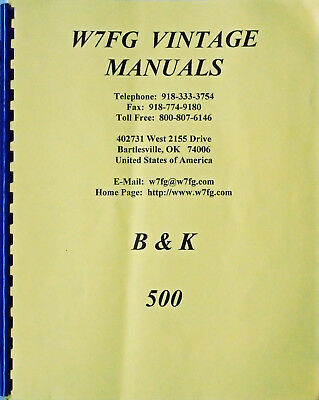 B & K DYNA-QUIK Model 500 Dynamic Mutual Conduct Tube Tester Instruction Manual