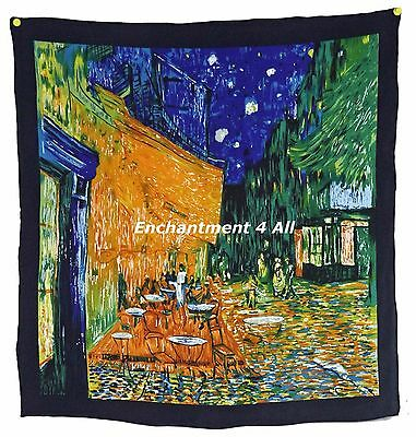 "Handmade 100% Silk Twill Scarf 22""x22"" Handrolled Van Gogh Cafe Terrace at Night"