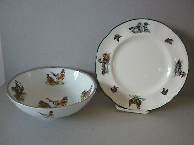 Reduced - Game Birds Pheasant Partridge Etc Dish & Tea Plate Not Matching - Sale