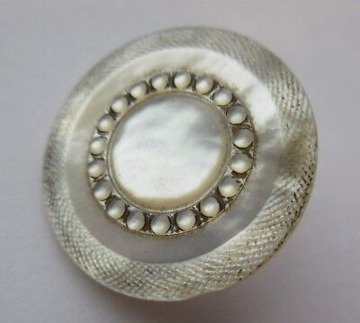 Gorgeous Antique~ Vtg Edwardian Carved Etched MOP Shell BUTTON w/ Brass Shank