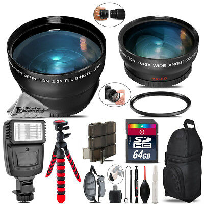 55mm Wide Angle & Telephoto Lens for Nikon D5600 D7500 + Slave Flash - 64GB Kit