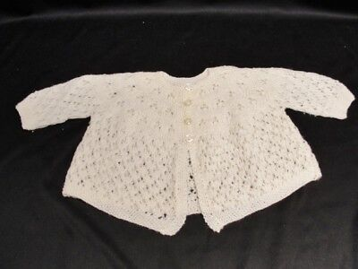 Vintage Baby Infant delicate white Hand Knit Crocheted Sweater Christening