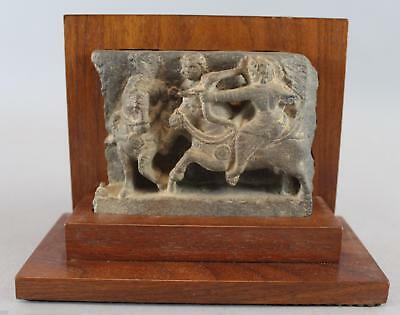 Ancient Antique Authentic India Carved Hindu Temple Fragment Archer Warrior, NR
