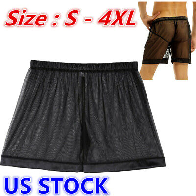 Mens Lingerie Briefs See-through Mesh Loose Lounge Boxer Shorts Underwear Night