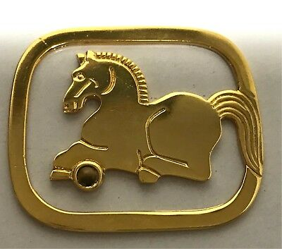 Judith Leiber Art Deco Bookmark Horse Vintage Gold Tone with Stone
