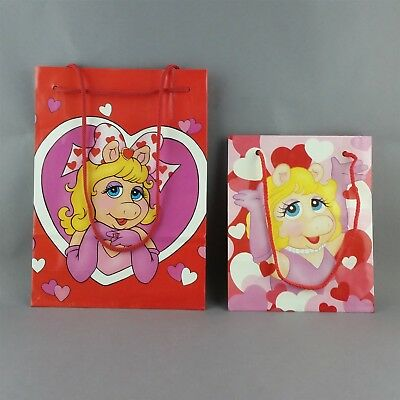 Lot of 2 Miss Piggy Valentines Day Gift Bags Muppets