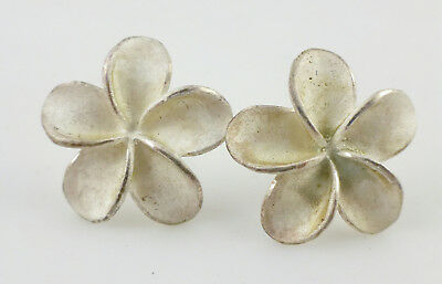 Textured Plumeria Flower Sterling Silver Post Earrings