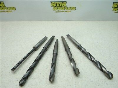 "Lot Of 5 Hss 1Mt Taper Shank Drills 1/4"" To 7/16"" Standard Lsi National Ny"