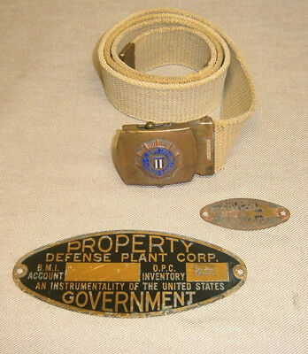 Vintage WWII US Citizens Military Training Camp Belt & Defense Plant Brass Tags