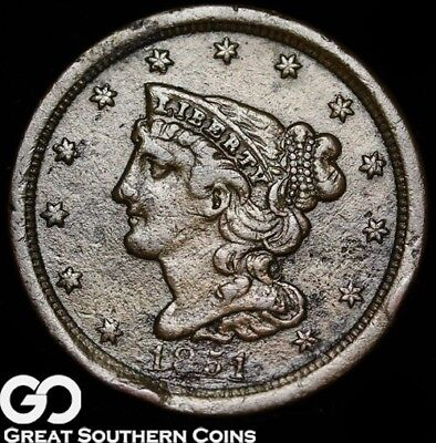 1851 Half Cent, Braided Hair