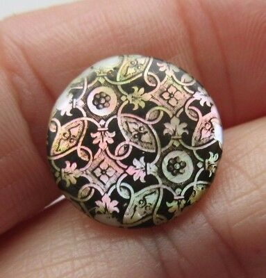 Fabulous Antique~ Vtg Carved Transfer Pearl BUTTON w/ Ornate Design Overlay