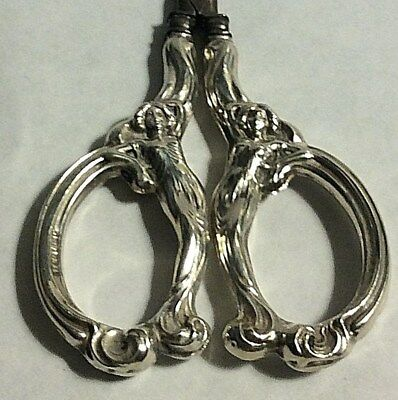 Antique Maiden Art Nouveau Sterling Silver Sewing Embroidery Scissors 390