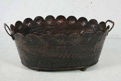 Vintage India Brass Hand Forged Ornate Design Planter