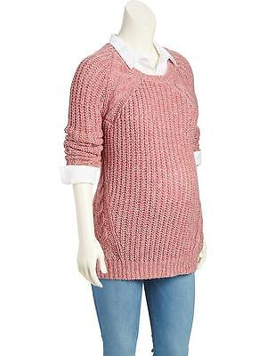 NWT Old Navy Maternity Pink Cable Knit Scoopneck Sweater