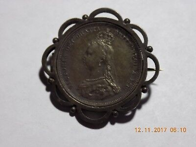 1888 British Silver Shilling - AU - Mounted in a Brooch Pin