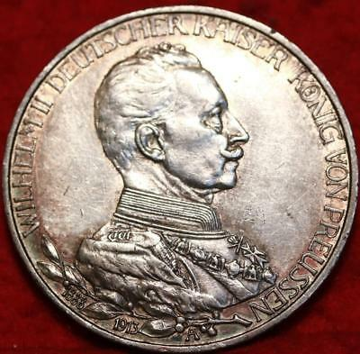 1913 Germany 3 Mark Silver Foreign Coin Free S/H