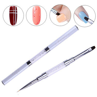 Dual-ended Nail Liner Brush Painting Pen Rhinestone Handle Manicure Tool