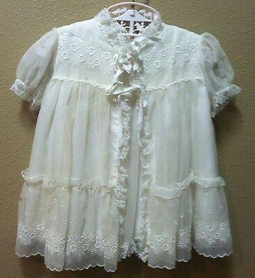 3 pc Vtg White Satin Sheer Embroidery Lace Baptismal Christening Baby Doll Dress